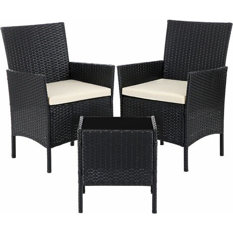 Garden Furniture Sets, Polyrattan Outdoor Patio Furniture, Conservatory PE Wicker Furniture, for Patio Balcony Backyard, Black and Beige GGF001B01 - Black