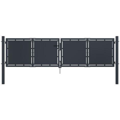 Garden Gate Steel 300x100 cm Anthracite