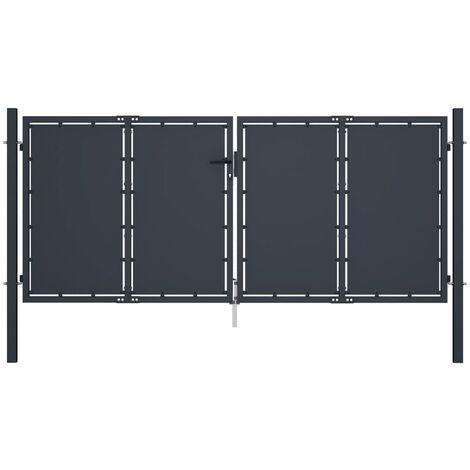 Garden Gate Steel 300x125 cm Anthracite