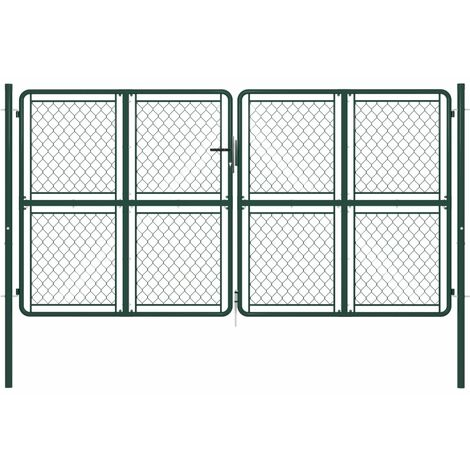 Garden Gate Steel 300x150 cm Green