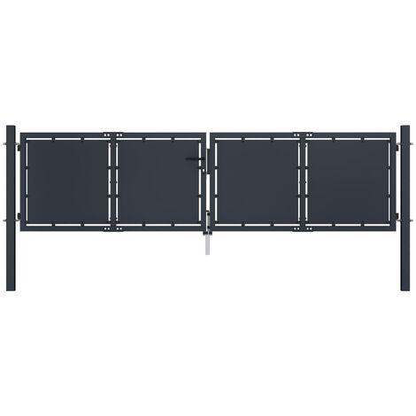 Garden Gate Steel 300x75 cm Anthracite