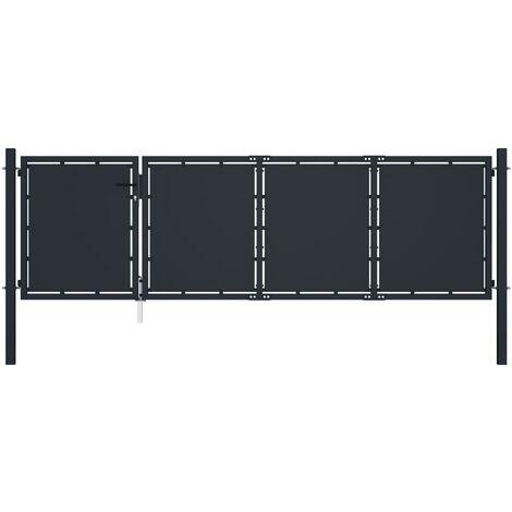 Garden Gate Steel 350x75 cm Anthracite
