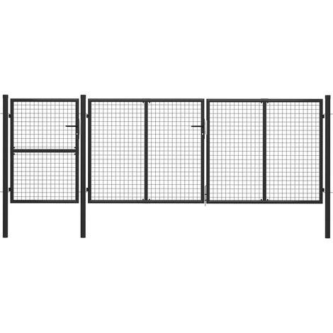 Garden Gate Steel 400x125 cm Anthracite