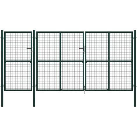 Garden Gate Steel 400x150 cm Green