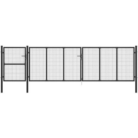 Garden Gate Steel 500x125 cm Anthracite