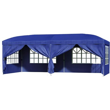 Garden Gazebo, 3 x 6m Anti-UV Pop-Up Canopy Tent, Party Shelter, Waterproof with Removable Side Panels, Zippered Doors, Carry Bag, for Outdoor Wedding Patio Events, Blue/Grey