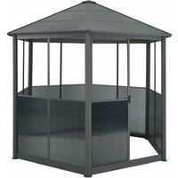 Garden Gazebo Aluminium Hexagonal Grey