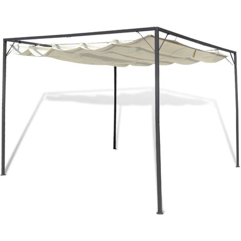 Garden Gazebo with Retractable Roof Canopy - Cream
