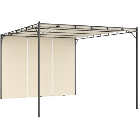 Garden Gazebo with Side Curtain 4x3x2.25 m Cream - Cream