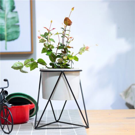 Garden Geometric Plant Stand Ceramic Pot Succulent Flower Iron Low Rack Holder