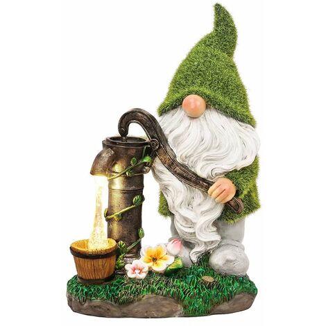 "main image of ""Garden Gnome Funny Figure Waterproof Draw Water Solar Light Garden Figurines Synthetic Resin Dwarf Garden Gnomes Garden Decoration Figurines"""