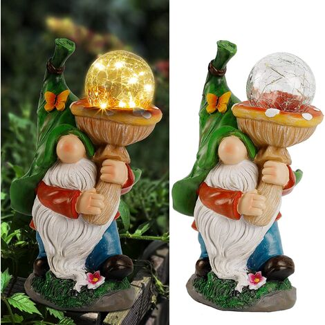 Garden Gnome Statue Outdoor, Holding Mushroom, Large Magic Orb with Built-in Solar String Lights, Hand-Painted and Special Coating, Durable Decor for Lawn Patio Spring Summer, 12 X 7 in