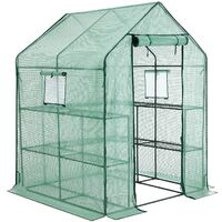 Garden Greenhouse, Walk-in Plant Shed with 10 Shelves, Roll-up Door, Grow House for Outdoors, Patio, Terrace, Backyard, 143 x 143 x 195cm, Green GWP12GN