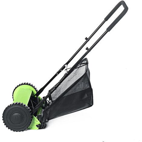 Garden Hand Push Lawn Mower 120*51cm Green+Black Courtyard Home Reel Mower No Power Lawnmower