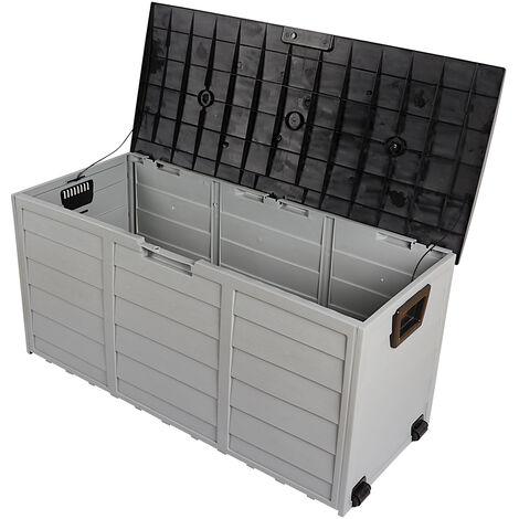 "main image of ""Garden home storage box outdoor rectangular waterproof storage box swimming pool balcony Black - Black"""