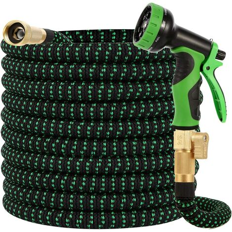 """main image of """"Garden Hose 100ft-Water hose with 9 Function Spray Nozzle and Durable 3/4 inch Solid Brass Fittings No Kink Flexible Lightweight Outdoor Long Retractable Hose Pipe Set"""""""