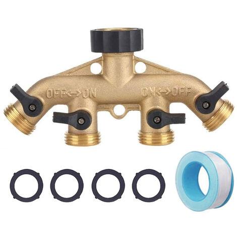 "main image of ""Garden Hose Adapter 4 Way Tap Hose Connectors Garden Watering Connector Water Distributor Switch Valves"""