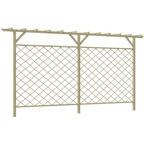 Garden Lattice Fence with Pergola Top Wood - Beige