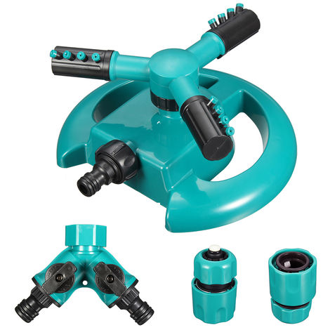 Garden Lawn Automatic Water Sprinkler 360 Degree Rotating 3 Arm Watering System Hasaki