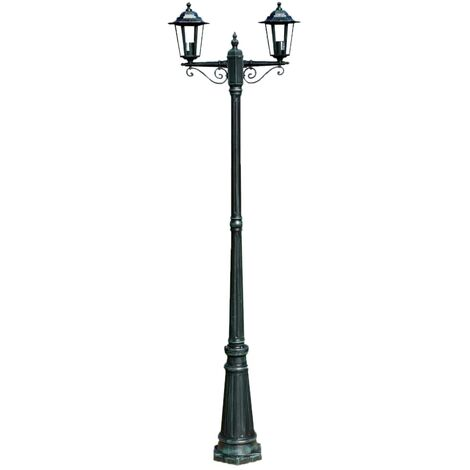 Garden Light Post 2-arms 215 cm Dark Green/Black Aluminium