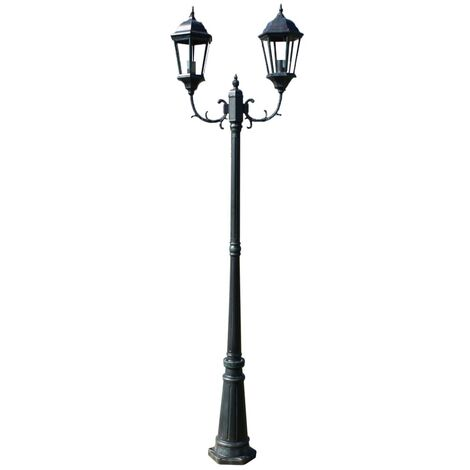 Garden Light Post 2-arms 230 cm Dark Green/Black Aluminium