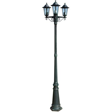 Garden Light Post 3-arms 215 cm Dark Green/Black Aluminium