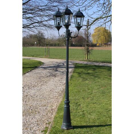 Garden Light Post 3-arms 230 cm Dark Green/Black Aluminium