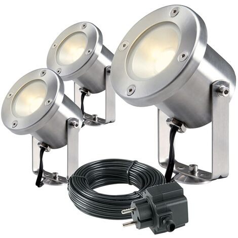 Garden Lights Proyectores LED 3 pzas Catalpa Acero inoxidable 4121603