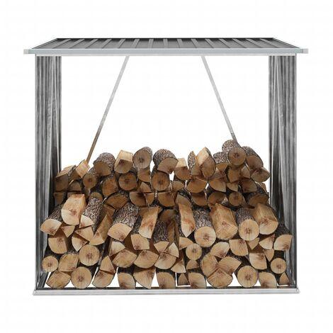Garden Log Storage Shed Galvanised Steel 163x83x154 cm Anthracite - Anthracite