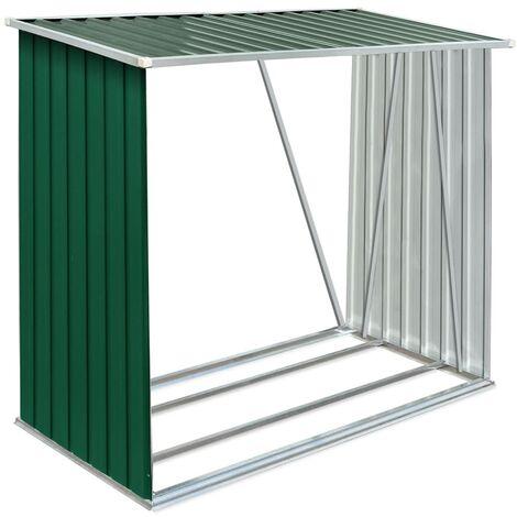 Garden Log Storage Shed Galvanised Steel 163x83x154 cm Green