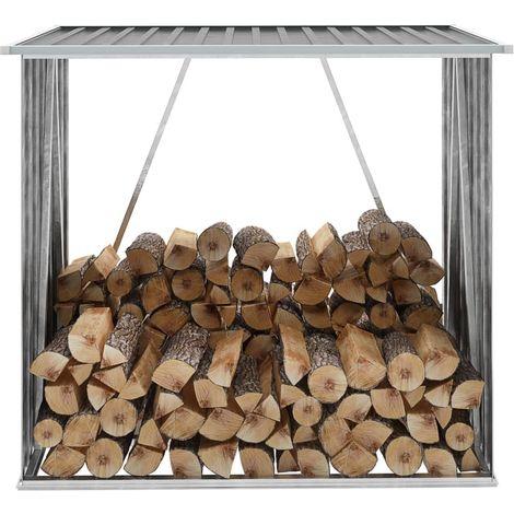 Garden Log Storage Shed Galvanised Steel 163x83x154 cm Grey