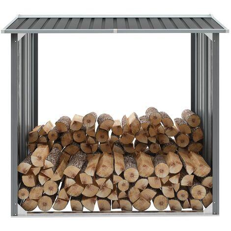 Garden Log Storage Shed Galvanised Steel 172x91x154 cm Grey - Grey