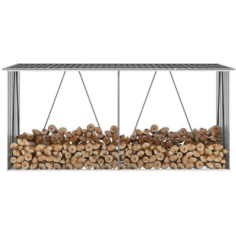 Garden Log Storage Shed Galvanised Steel 330x84x152 cm Anthracite - Anthracite