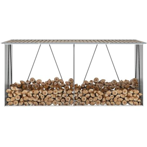 Garden Log Storage Shed Galvanised Steel 330x84x152 cm Brown - Brown