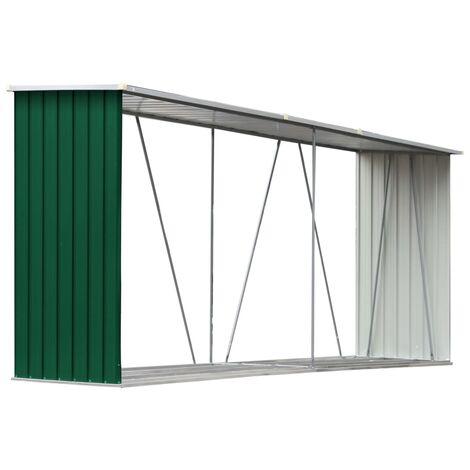 Garden Log Storage Shed Galvanised Steel 330x84x152 cm Green