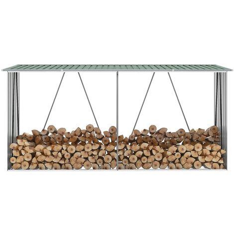 Garden Log Storage Shed Galvanised Steel 330x84x152 cm Green - Green