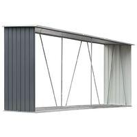 Garden Log Storage Shed Galvanised Steel 330x84x152 cm Grey