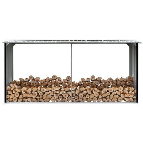 Garden Log Storage Shed Galvanised Steel 330x92x153 cm Anthracite - Anthracite