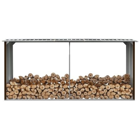 Garden Log Storage Shed Galvanised Steel 330x92x153 cm Brown