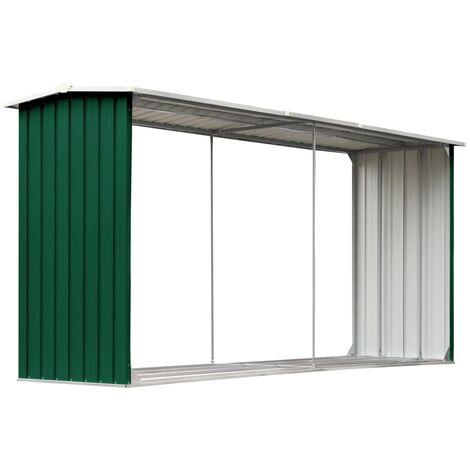 Garden Log Storage Shed Galvanised Steel 330x92x153 cm Green