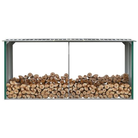 Garden Log Storage Shed Galvanised Steel 330x92x153 cm Green - Green