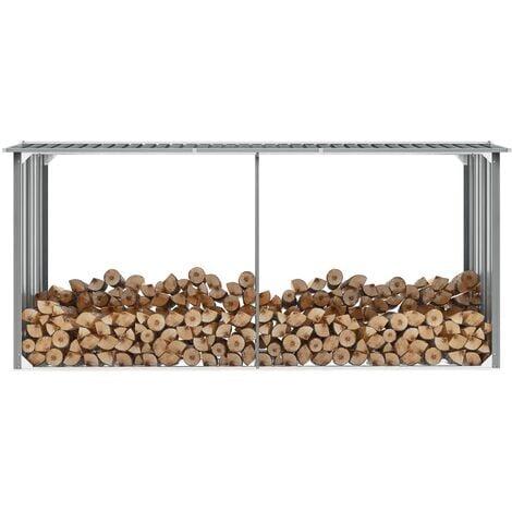 Garden Log Storage Shed Galvanised Steel 330x92x153 cm Grey - Grey