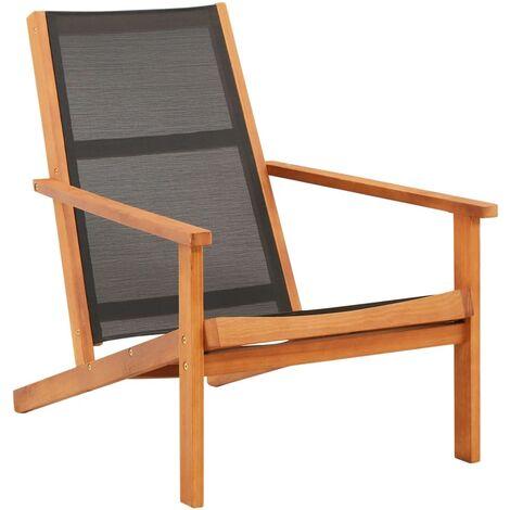Garden Lounge Chair Black Solid Eucalyptus Wood and Textilene
