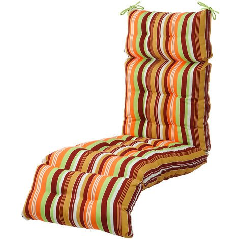 Garden lounge chair cushion 183x51x15cm Red and green stripe