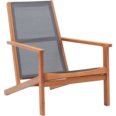 Garden Lounge Chair Grey Solid Eucalyptus Wood and Textilene