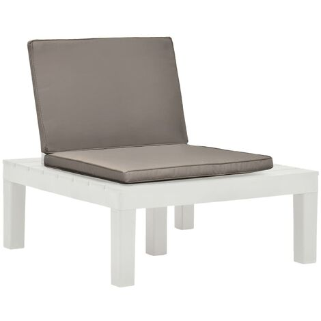 Garden Lounge Chair with Cushion Plastic White