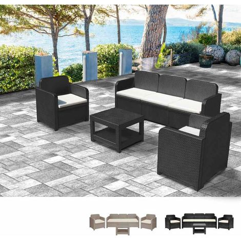 POSITANO Garden Lounge Set 2 Chairs 1 Sofa 1 Table in poly rattan 5 Total seats   Black