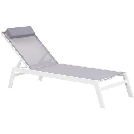 "main image of ""Garden Lounger Grey Aluminium Frame Adjustable Backrest Cushion Catania II"""