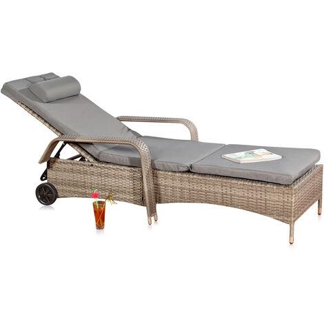 Garden lounger Sun lounger Deckchair Lounge Polyrattan Rattan Lounger Grey