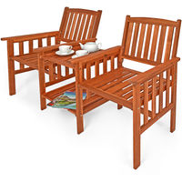 Garden Loveseat Wooden 2 Seater with Side Table Outdoor Bench Chairs